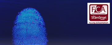 FCA scam smart logo with image of finger print being scanned